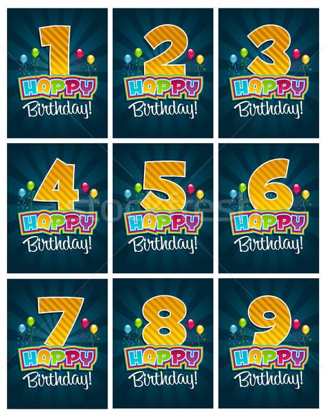 С Днем Рождения номера рождения приветствие карт вечеринка Сток-фото © Mictoon
