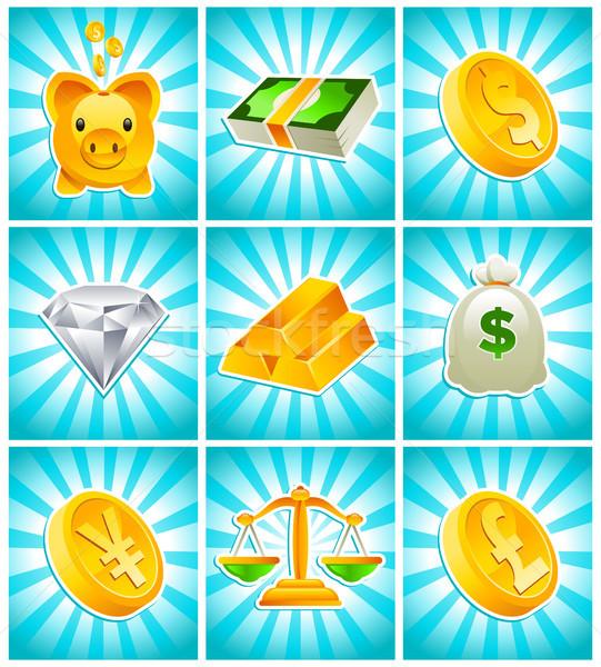 золото деньги финансовых иконки синий Сток-фото © Mictoon