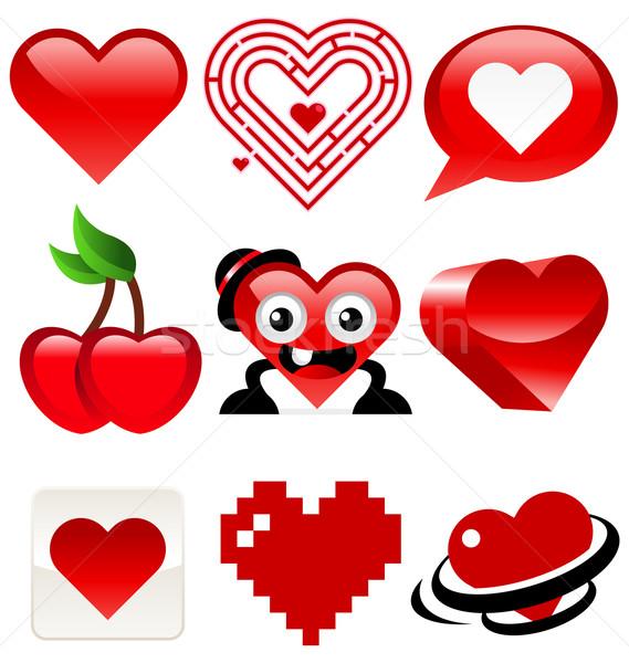 Valentine kalp simgeler kırmızı Stok fotoğraf © Mictoon