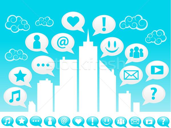 Blue Social Media City Stock photo © Mictoon