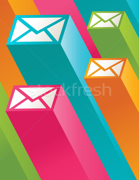 красочный почты иллюстрация 3D конверт иконки Сток-фото © Mictoon