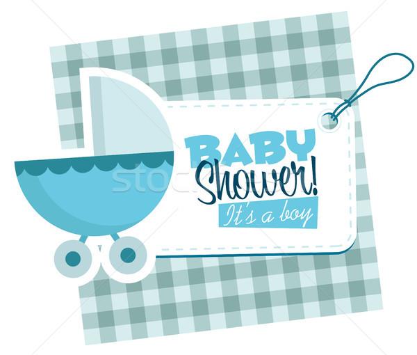 Bebek erkek mavi dizayn sanat Stok fotoğraf © Mictoon