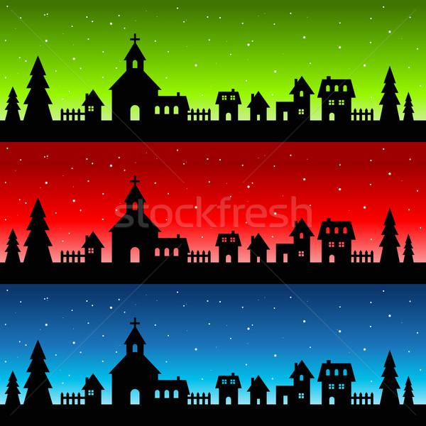 シルエット クリスマス 村 教会 家 緑 ストックフォト © Mictoon