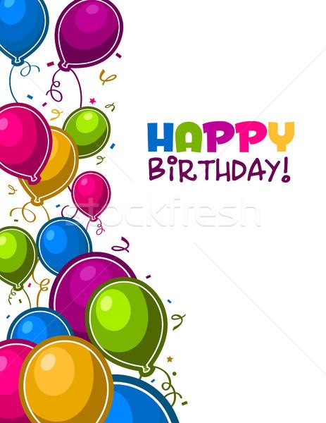 ストックフォト: お誕生日おめでとうございます · グリーティングカード · 歳の誕生日 · カラフル · パーティ · 風船