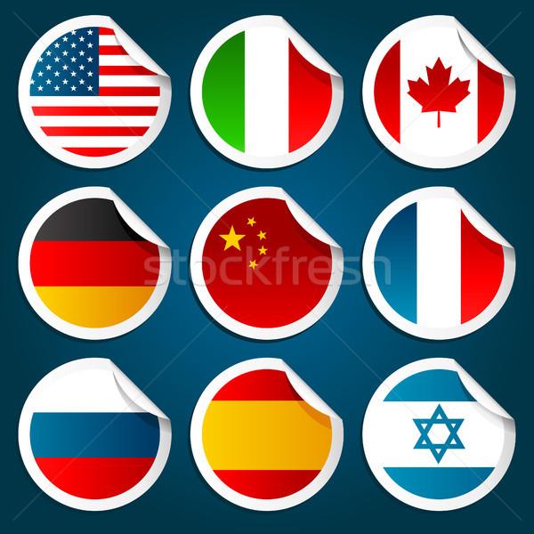 Dünya bayraklar ayarlamak dizayn grafik Stok fotoğraf © Mictoon