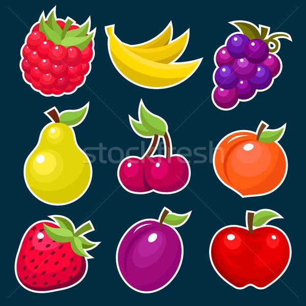 красочный плодов ягодные фрукты иконки Сток-фото © Mictoon