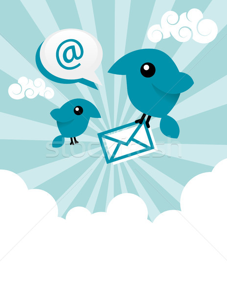 Mavi e-mail kuşlar örnek dizayn Stok fotoğraf © Mictoon