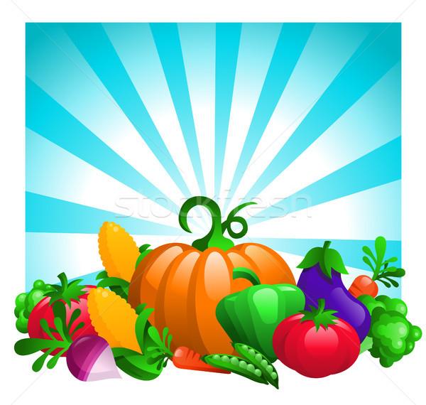 красочный овощей синий кукурузы томатный растительное Сток-фото © Mictoon