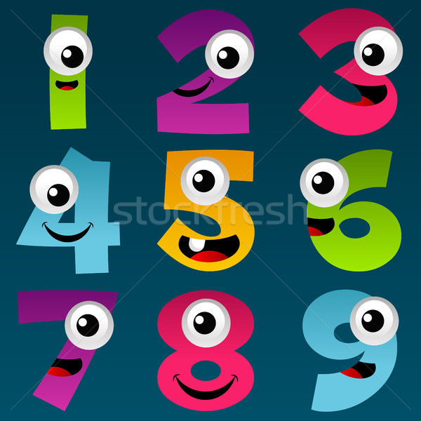 Cartoon номера набор весело красочный фон Сток-фото © Mictoon