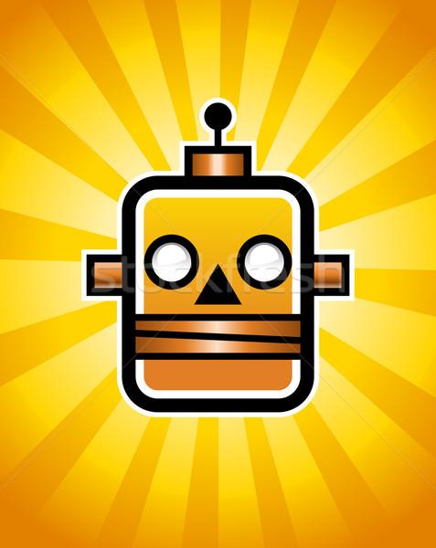 Retro robot örnek kafa turuncu bilgisayar Stok fotoğraf © Mictoon