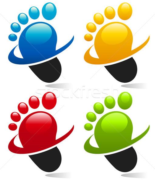 Ayaklar simgeler grafik elemanları mavi Stok fotoğraf © Mictoon