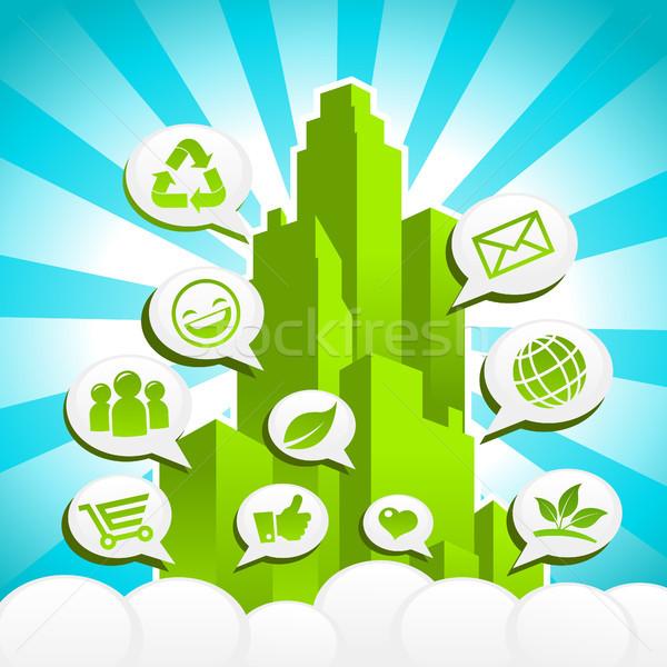 Yeşil eco şehir geri dönüşüm simgeler Stok fotoğraf © Mictoon