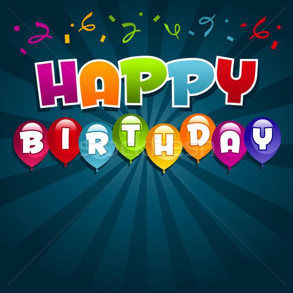 С Днем Рождения красочный рождения вечеринка шаров Сток-фото © Mictoon