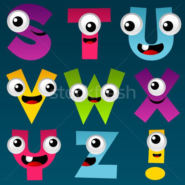Cartoon алфавит набор весело красочный счастливым Сток-фото © Mictoon
