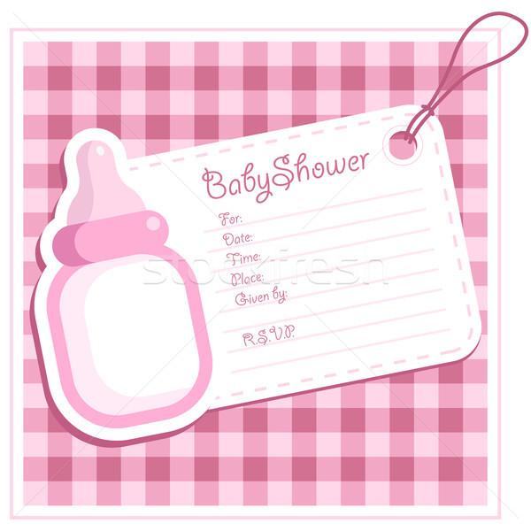 Duş bebek davetiye pembe Stok fotoğraf © Mictoon