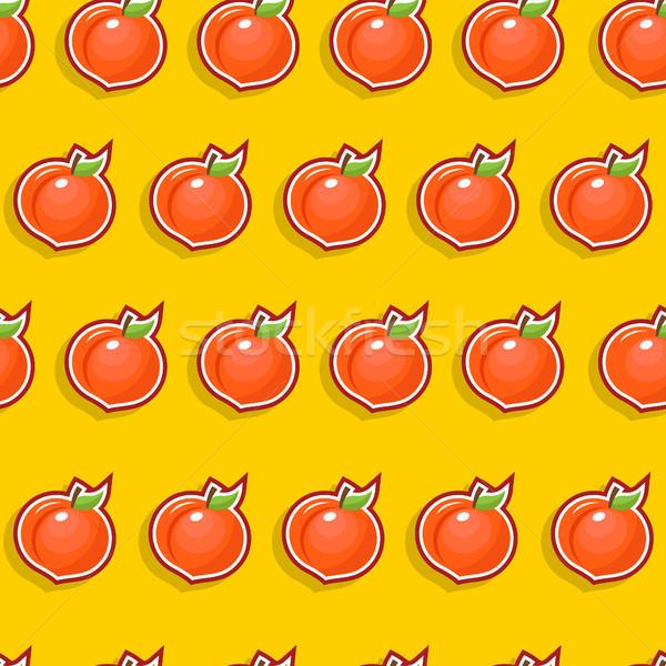 бесшовный персика шаблон фрукты икона Сток-фото © Mictoon