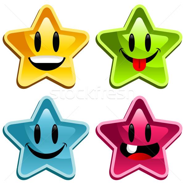 счастливым улыбаясь звезды набор красочный улыбка Сток-фото © Mictoon