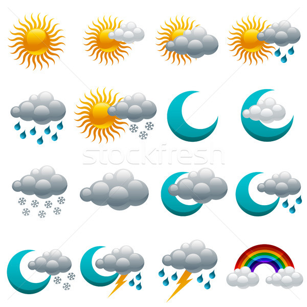красочный погода иконки облака Сток-фото © Mictoon