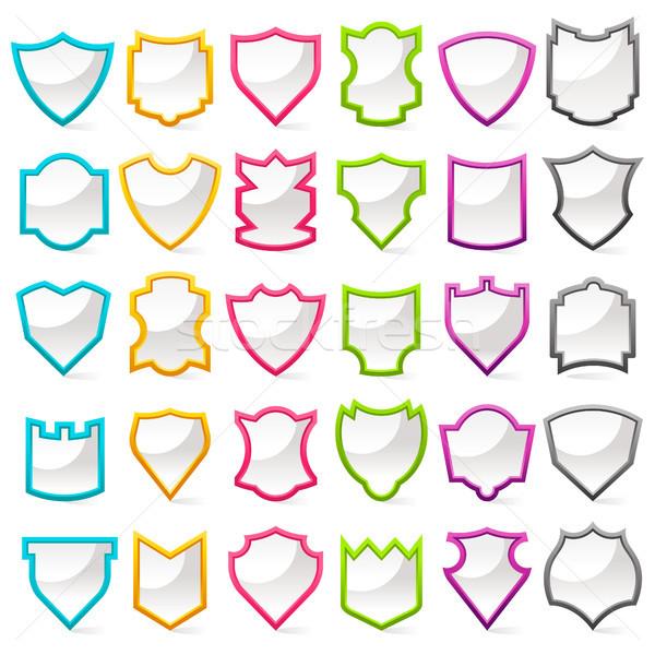 красочный набор щит иконки кадр безопасности Сток-фото © Mictoon