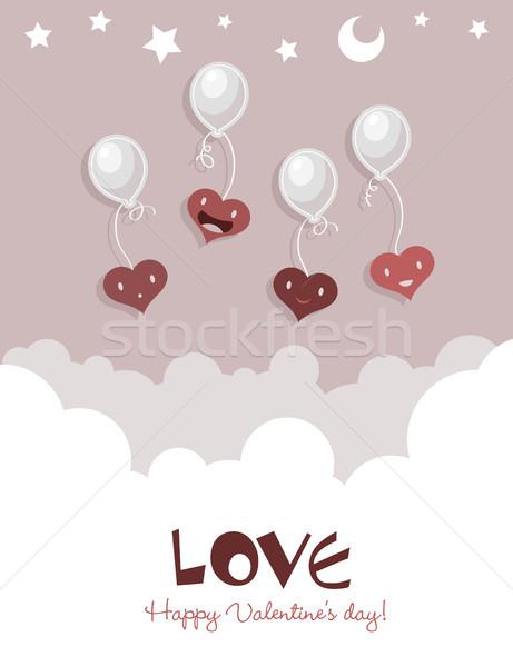 Flying Hearts on Balloons Stock photo © Mictoon