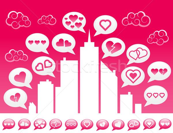 Sevmek şehir örnek konuşma balonu kalp simgeler Stok fotoğraf © Mictoon