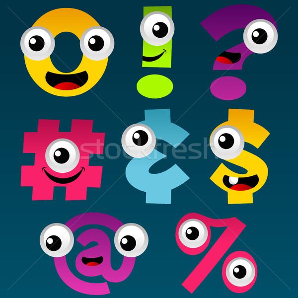 Karikatür semboller ayarlamak eğlence renkli para Stok fotoğraf © Mictoon