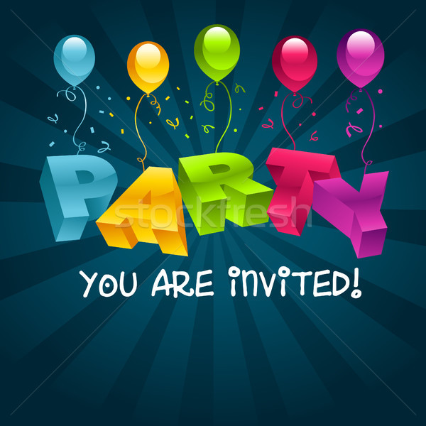Colorful Party Invitation Card Stock photo © Mictoon