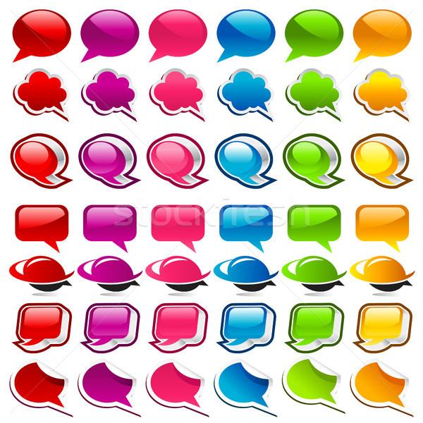 Renkli konuşma balonu simgeler ayarlamak yeşil Stok fotoğraf © Mictoon