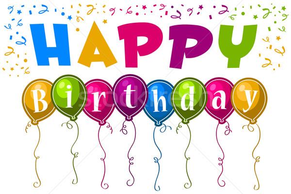 Mutlu yıllar tebrik kartı tebrik renkli parti Stok fotoğraf © Mictoon