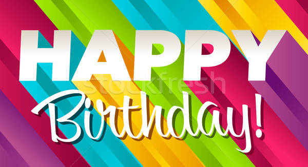 Renkli doğum günü tebrik kartı mutlu yıllar eğlence grafik Stok fotoğraf © Mictoon
