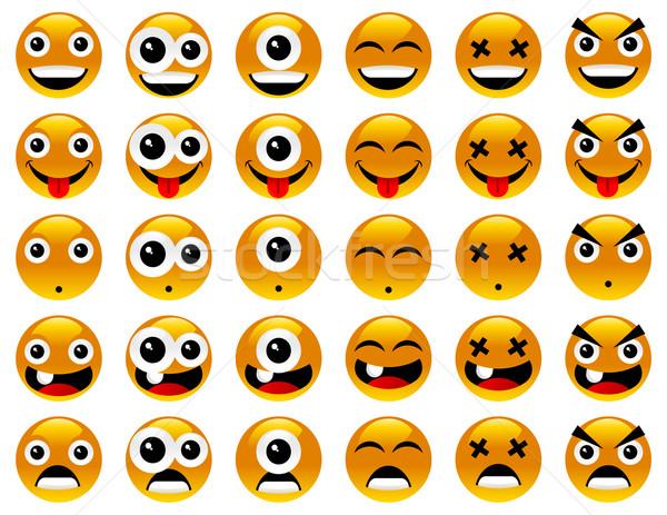 желтый улыбаясь вектора набор Crazy Сток-фото © Mictoon