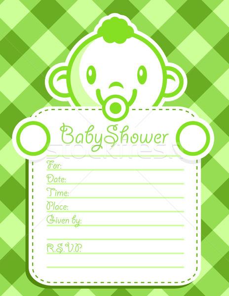 Yeşil bebek erkek davetiye duş tebrik kartı Stok fotoğraf © Mictoon