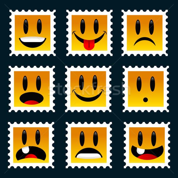 улыбаясь марок набор весело дети графических Сток-фото © Mictoon