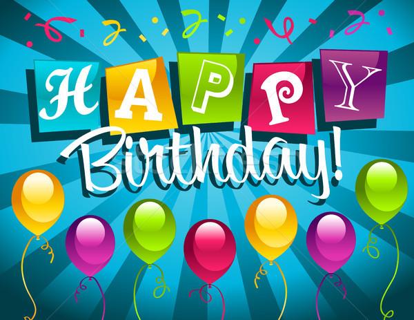 Mutlu yıllar tebrik kartı doğum günü renkli parti balonlar Stok fotoğraf © Mictoon
