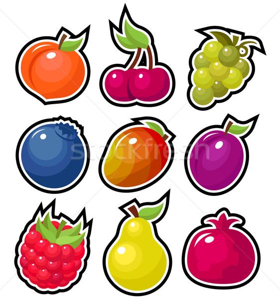 Nyami gyümölcs ikon szett színes ikonok levél Stock fotó © Mictoon