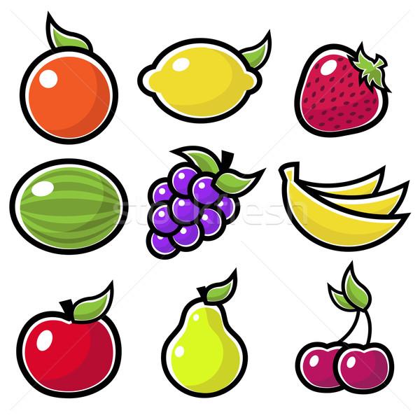 Renkli meyve simgeler elma turuncu Stok fotoğraf © Mictoon