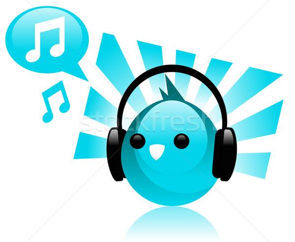 синий музыку птица животного Сток-фото © Mictoon