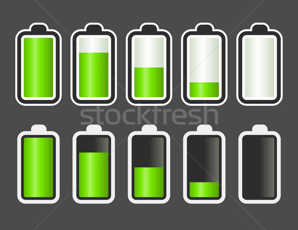 Batterie niveau indicateur vert design Photo stock © Mictoon
