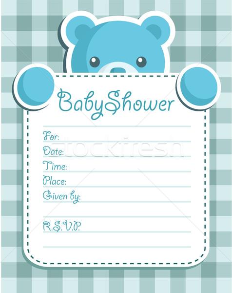 Bebek duş ayı mavi davetiye Stok fotoğraf © Mictoon