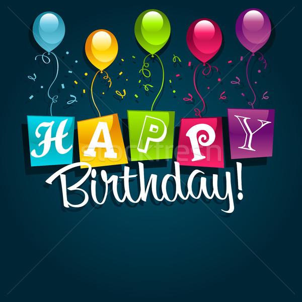 Happy Birthday Greeting Card Stock photo © Mictoon