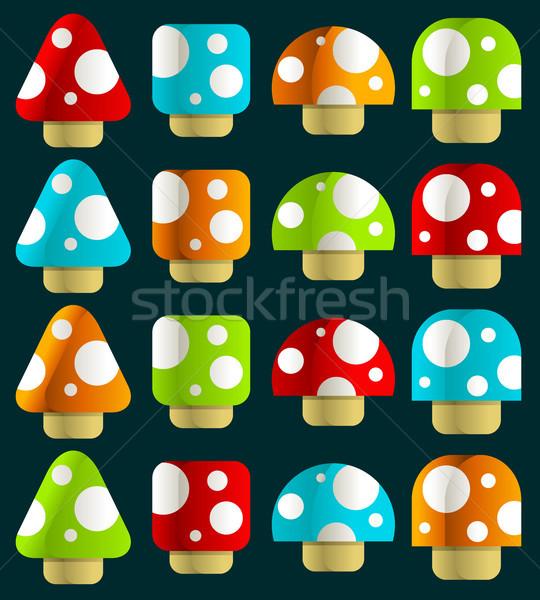 набор магия красочный грибы крошечный дизайна Сток-фото © Mictoon