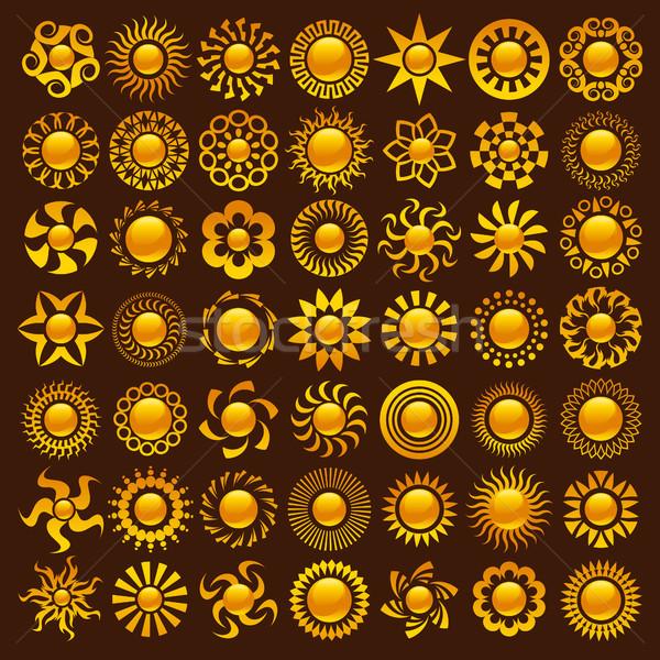 Güneş tasarımlar toplama yangın soyut altın Stok fotoğraf © Mictoon