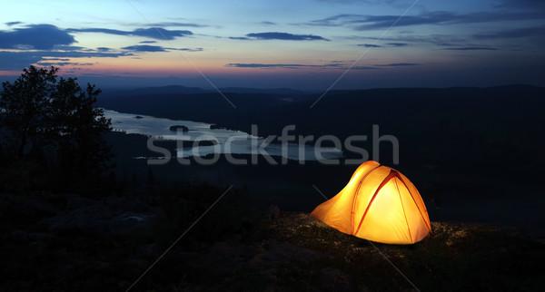 Foto stock: Tenda · para · cima · crepúsculo · água · laranja · noite