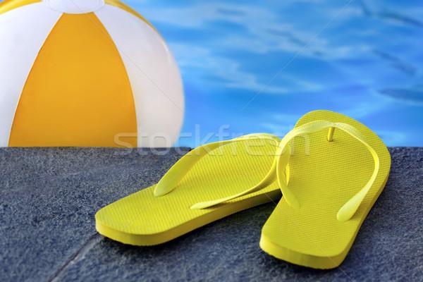 Sandały basen wody pomarańczowy buty cool Zdjęcia stock © mikdam