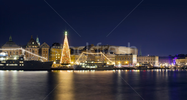 Stockholms old city with christmas tree Stock photo © mikdam