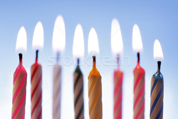 Bougies d'anniversaire bleu fête lumière Photo stock © mikdam