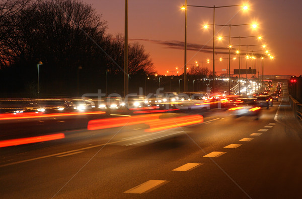 Autók éjszaka bemozdulás út absztrakt narancs Stock fotó © mikdam