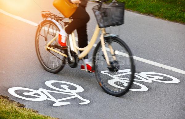 Stock fotó: Bicikli · sáv · nők · természet · utca · festék