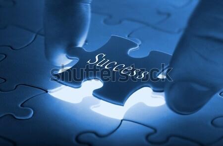 Utolsó darab puzzle kezek Stock fotó © mikdam