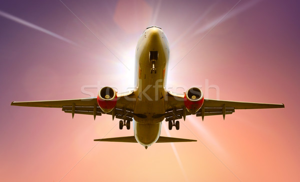 Uçak iniş düzlem taşıma uçuş Stok fotoğraf © mikdam
